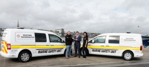 Presentation of two vans to Wexford Marine Watch on Thursday morning at the headquarters Ferrybank. L/r; Frank Flanagan, Kevin O'Reilly (VW Wexford) and Alex Drafilova.